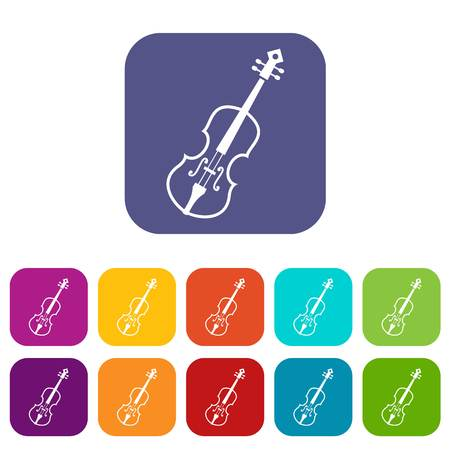 Cello icons set vector illustration in flat style in colors red, blue, green, and other