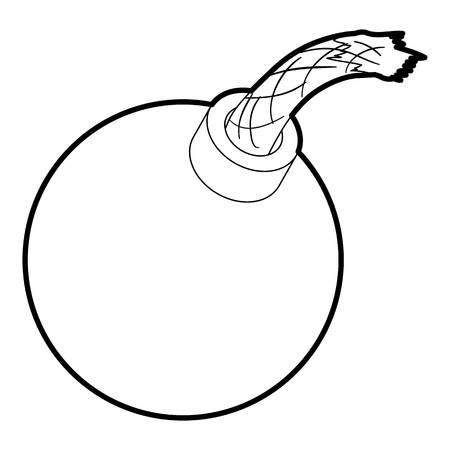 dinamita: Icono de bomba en contorno estilo aislado en la ilustración de vector blanco