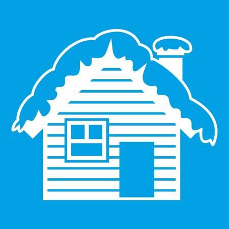 Maison en bois recouvert de neige icône blanc isolé sur illustration vectorielle fond bleu Banque d'images - 82409154