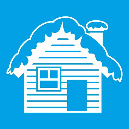 tree log: Wooden house covered with snow icon white isolated on blue background vector illustration Illustration