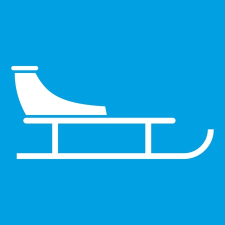 Sled icon white isolated on blue background vector illustration