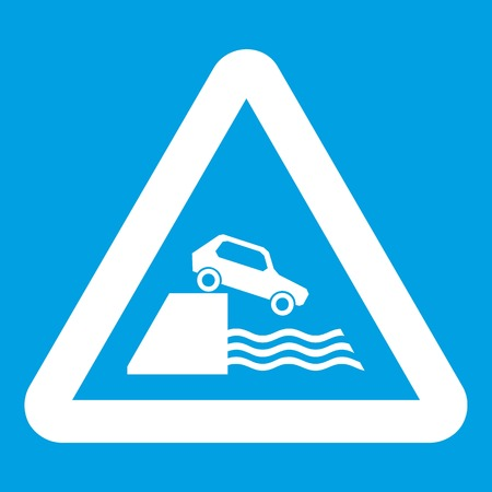 unprotected: Riverbank traffic sign icon white isolated on blue background vector illustration