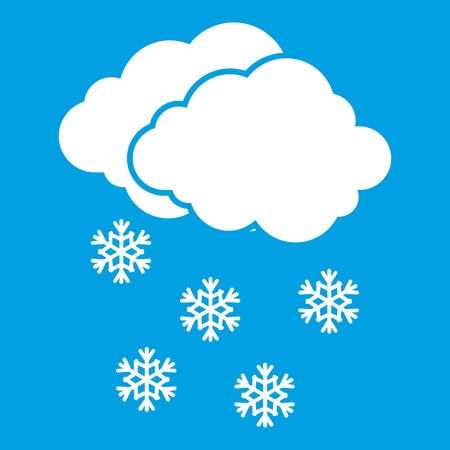 Cloud and snowflakes icon white isolated on blue background vector illustration