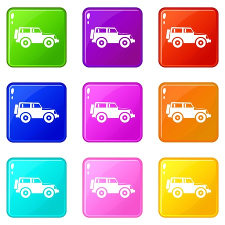 heavy: Jeep icons of 9 color set isolated vector illustration