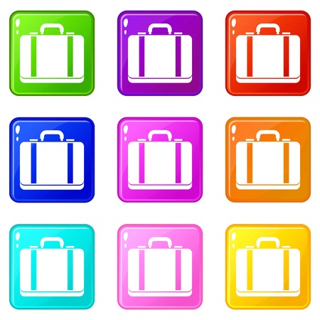 Suitcase icons of 9 color set isolated vector illustration