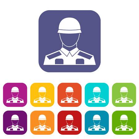 Soldier icons set vector illustration in flat style in colors red, blue, green, and other