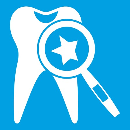 Tooth with magnifying glass icon white isolated on blue background vector illustration Illustration