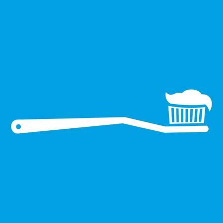 Icône de la brosse à dents blanc isolé sur illustration vectorielle fond bleu Banque d'images - 82409376