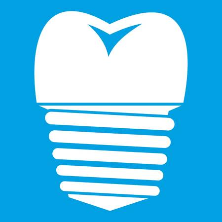 carious cavity: Tooth implant icon white isolated on blue background vector illustration Illustration