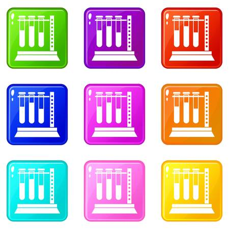 Medical test tubes in holder icons of 9 color set isolated vector illustration Illustration