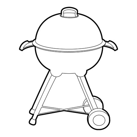Kettle barbecue icon in outline style isolated on white vector illustration Illustration
