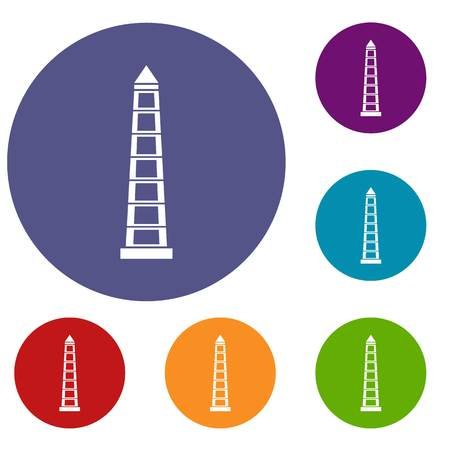 obelisco: Obelisco of Buenos Aires, Argentina icons set in flat circle red, blue and green color for web
