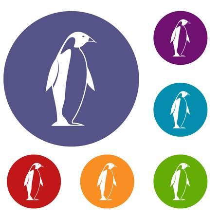 Les icônes King Penguin se situent en cercle plat couleur rouge, bleu et vert pour le web Banque d'images - 82409468