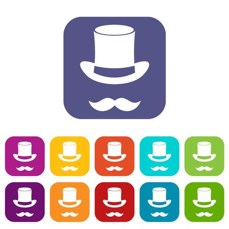 Magic black hat and mustache icons set vector illustration in flat style in colors red, blue, green, and other