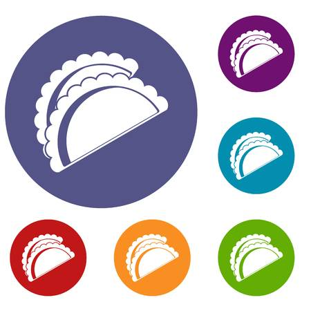 Empanadas de pollo icons set in flat circle red, blue and green color for web Illustration