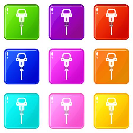 jack tar: Pneumatic hammer icons of 9 color set isolated vector illustration