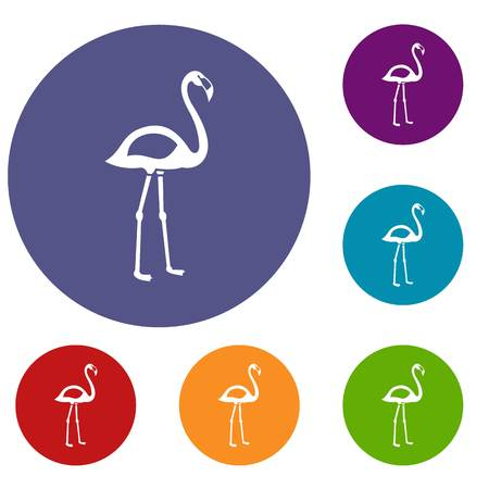 obelisco: Flamingo icons set in flat circle red, blue and green color for web