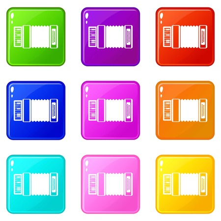 music: Accordion icons of 9 color set isolated vector illustration Illustration