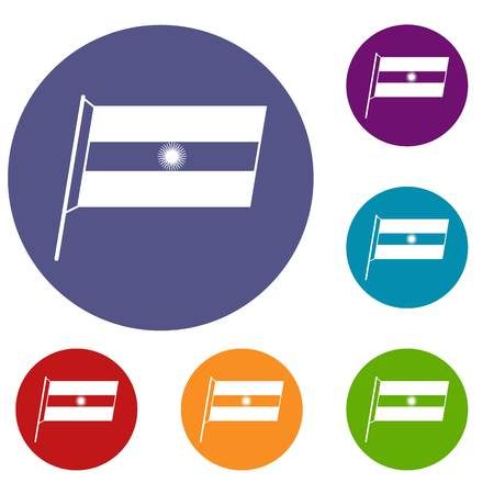obelisco: Flag of Argentina icons set in flat circle red, blue and green color for web