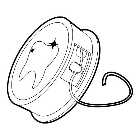 Dental floss icon in outline style isolated on white vector illustration Illustration