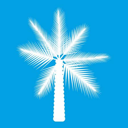 huge tree: Big palm tree icon white isolated on blue background vector illustration