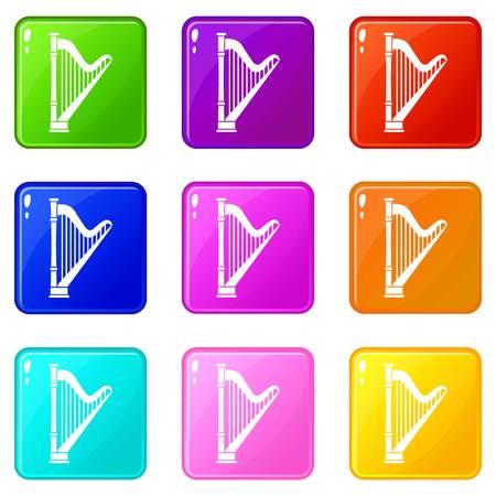Icônes de harpe de 9 couleur définie illustration vectorielle isolé Vecteurs