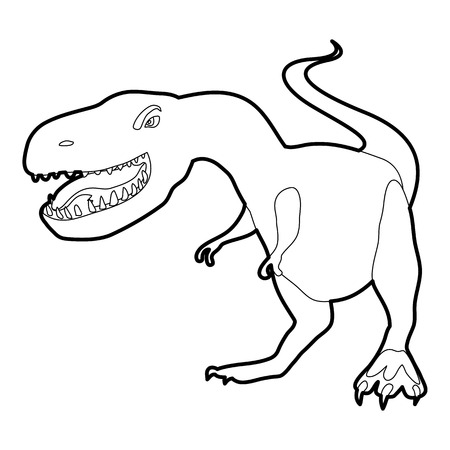 Dinosaur tyrannosaur icon outline Illustration