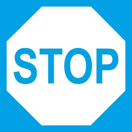 danger ahead: Stop sign icon white Illustration