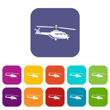 chinook: Military helicopter icons set Illustration