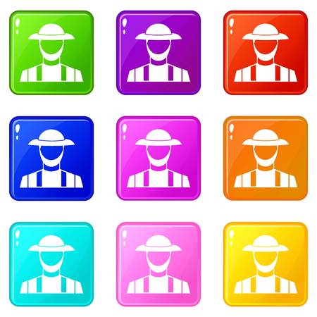 agronomist: Farmer icons of 9 color set isolated vector illustration
