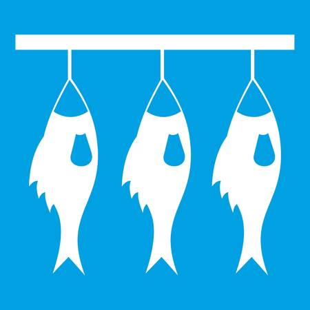 Three dried fish hanging on a rope icon white Illustration