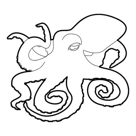 cephalopod: Octopus icon in outline style isolated on white vector illustration