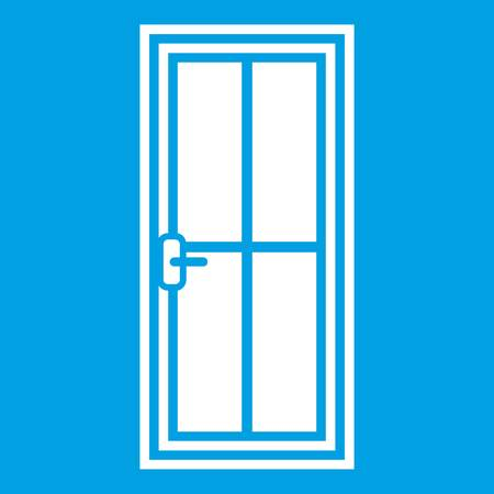 furniture design: Glass door icon white isolated on blue background vector illustration