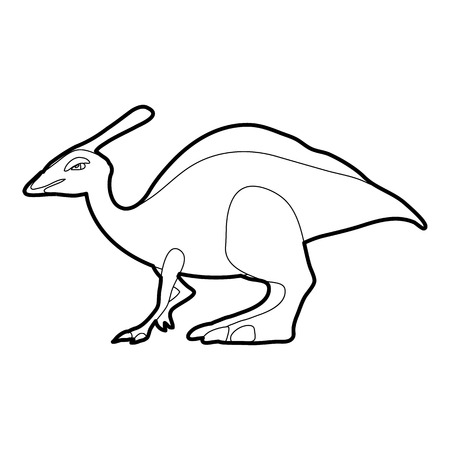 paleontology: Parasaurolof icon in outline style isolated on white vector illustration