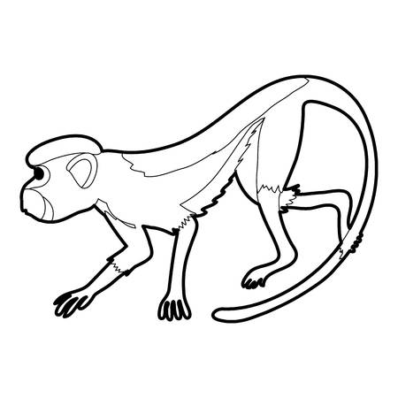 Going forward monkey icon in outline style isolated on white vector illustration Illustration