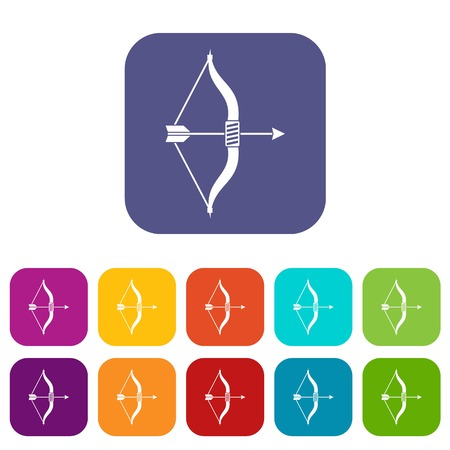 Bow and arrow icons set vector illustration in flat style in colors red, blue, green, and other Illustration