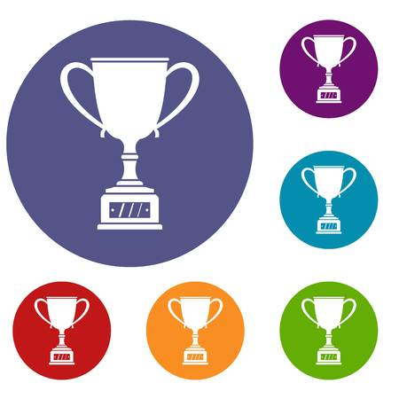 Winner cup icons set in flat circle red, blue and green color for web Illustration
