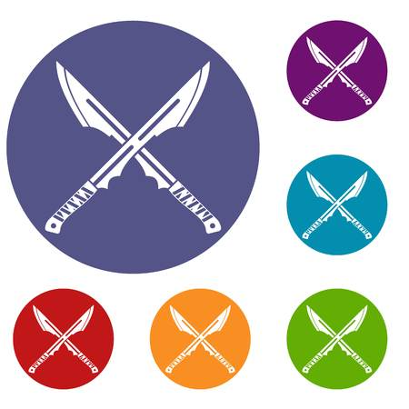 Japanese tanto daggers icons set in flat circle red, blue and green color for web