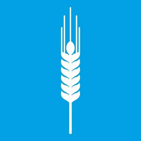 grain: Stalk of ripe barley icon white isolated on blue background vector illustration