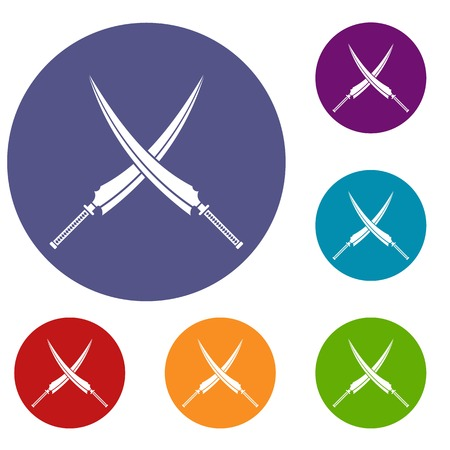 Samurai swords icons set
