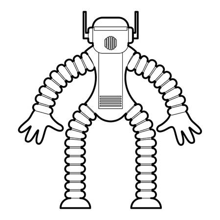funny robot: Robot monkey icon outline