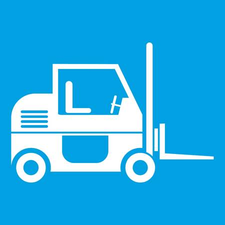 heavy: Forklift icon white isolated on blue background vector illustration
