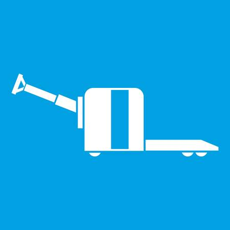 Cart on wheels icon white isolated on blue background vector illustration