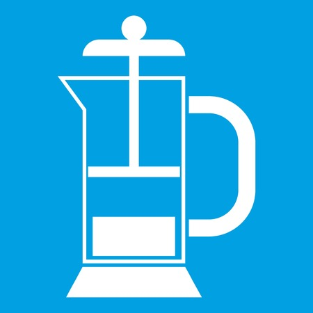 French press coffee maker icon white isolated on blue background vector illustration