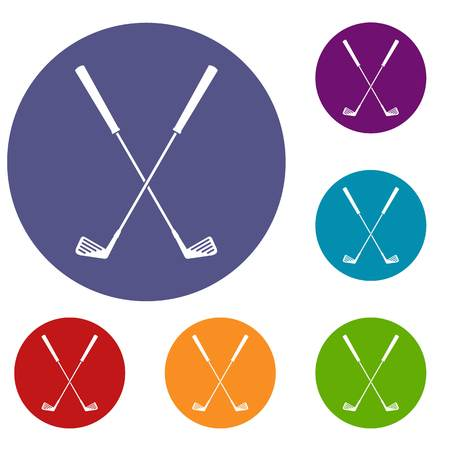 Two golf clubs icons set in flat circle red, blue and green color for web Illustration