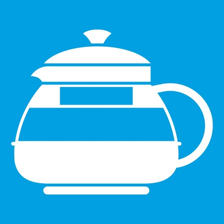 decanter: Glass teapot icon white isolated on blue background vector illustration