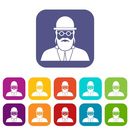 Orthodox jew icons set vector illustration in flat style in colors red, blue, green, and other