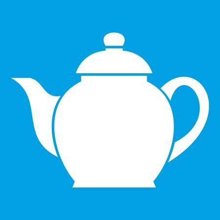 modern kitchen: Teapot icon white isolated on blue background vector illustration Illustration