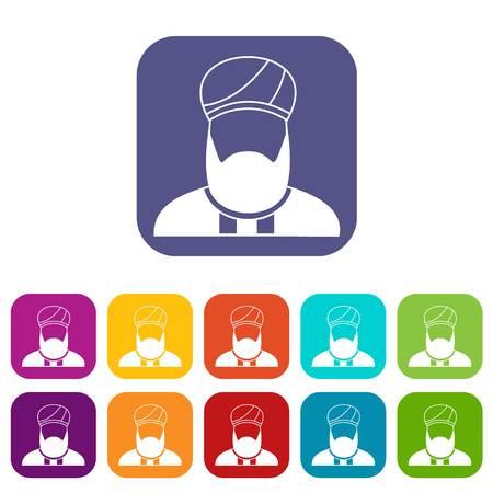 이슬람 설교자 아이콘 빨강, 파랑, 녹색, 및 기타 색상에서 플랫 스타일 벡터 일러스트 레이 션을 설정합니다. 일러스트