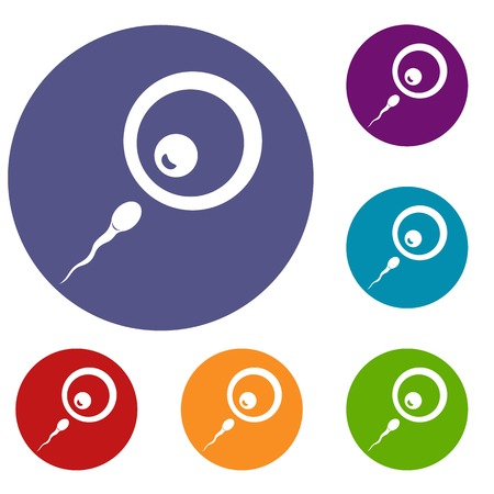 Donor sperm icons set Illustration